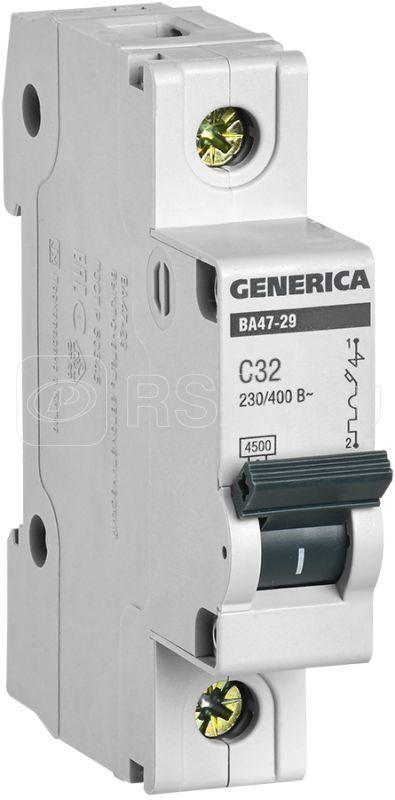 Выключатель автоматический модульный 1п C 32А 4.5кА ВА47-29 GENERICA IEK MVA25-1-032-C купить в интернет-магазине RS24