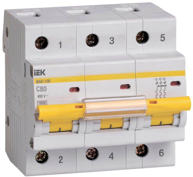 Выключатель автоматический модульный 3п C 80А 10кА ВА47-100 IEK MVA40-3-080-C купить в интернет-магазине RS24