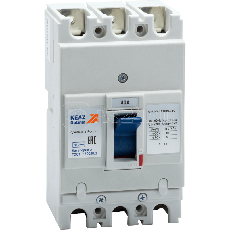 Выключатель автоматический 40А 10кА OptiMat E100L040 УХЛ3 КЭАЗ 100004 купить в интернет-магазине RS24