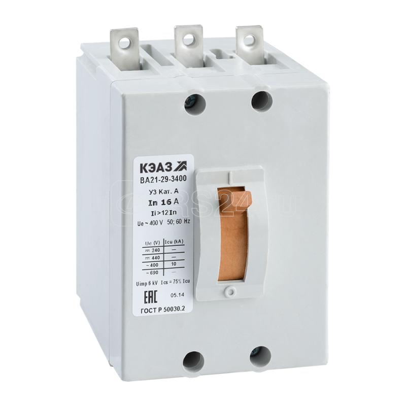 Выключатель автоматический 3.15А 12Iн ВА21-29-340010 У3 400В AC КЭАЗ 102135 купить в интернет-магазине RS24