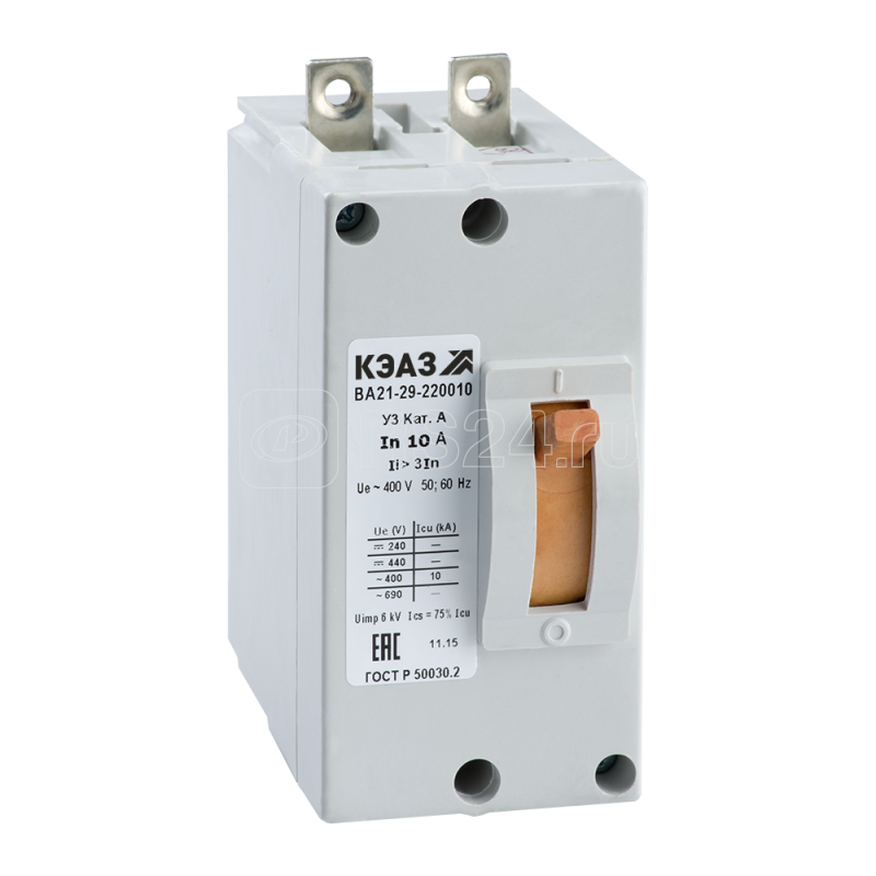 Выключатель автоматический 4А 6Iн ВА21-29-220010 У3 440В DC крепл. за панелью КЭАЗ 102457 купить в интернет-магазине RS24