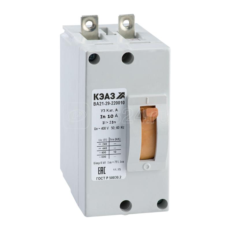 Выключатель автоматический 100А 6Iн ВА21-29-240010 У3 440В DC КЭАЗ 102551 купить в интернет-магазине RS24