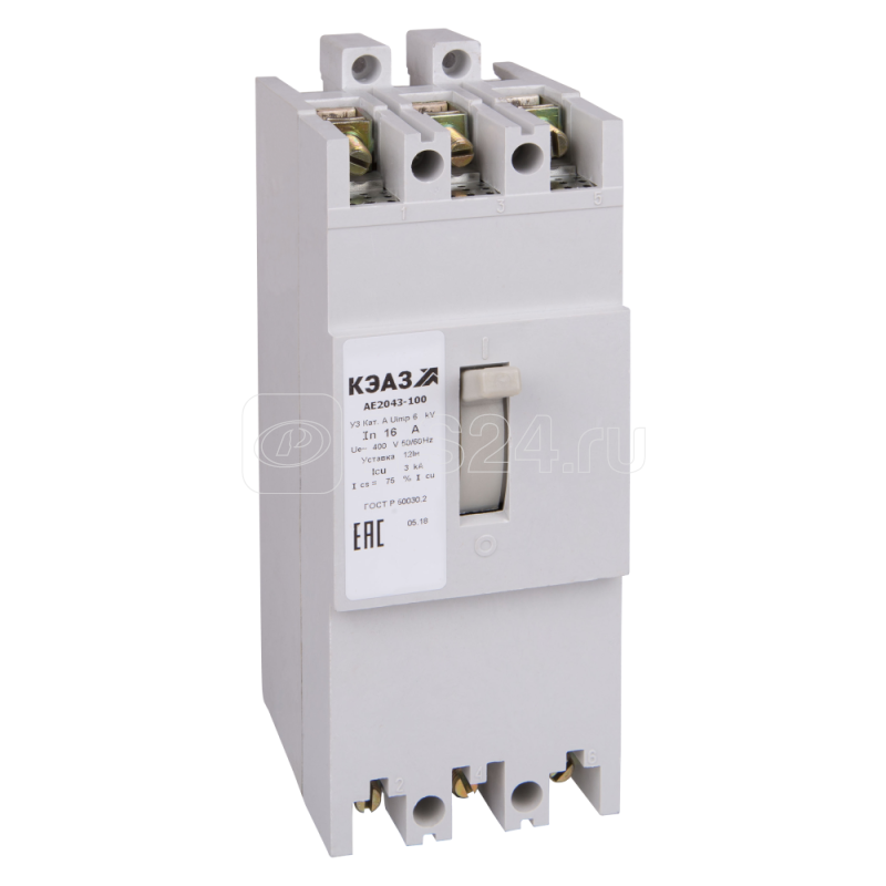 Выключатель автоматический 10А 12Iн АЕ2046-12Р У3 400В AC НР=24В AC/DC КЭАЗ 104303 купить в интернет-магазине RS24