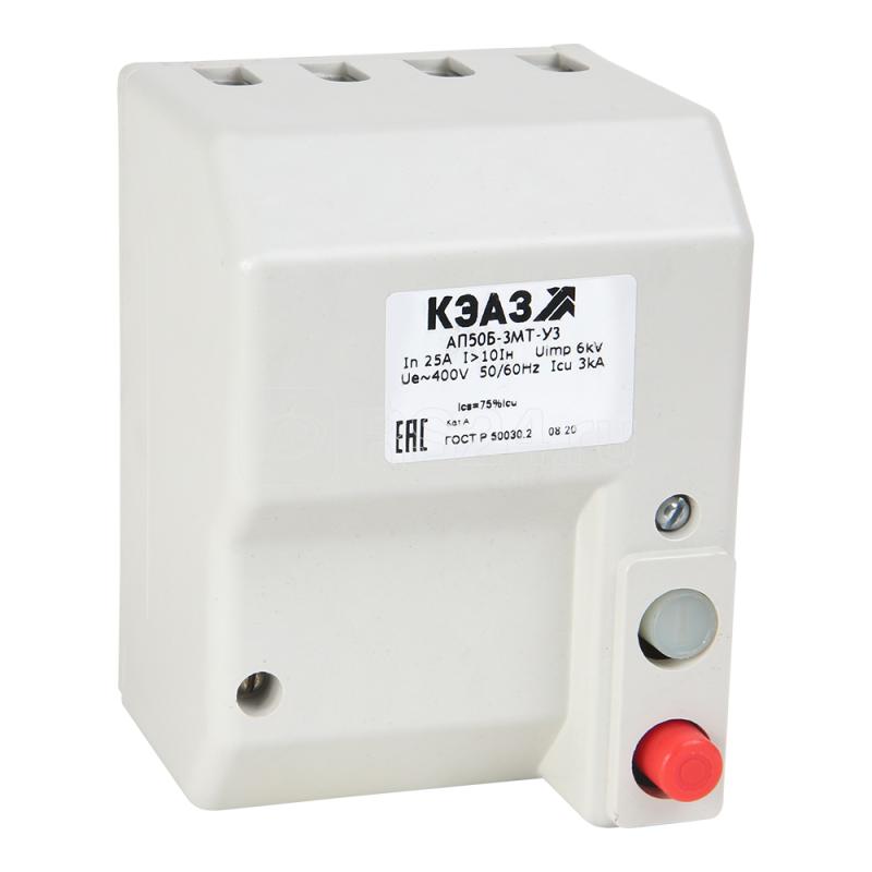 Выключатель автоматический 3п 10А 3.5Iн АП50Б 2М3ТН У3 400В AC РМН=220В AC доп. контакты 2п КЭАЗ 106753 купить в интернет-магазине RS24