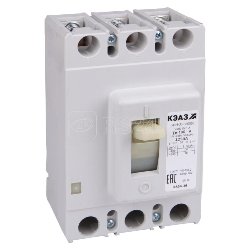 Выключатель автоматический 31.5А 500Im ВА04-36-340010 УХЛ3 690В AC КЭАЗ 107563 купить в интернет-магазине RS24