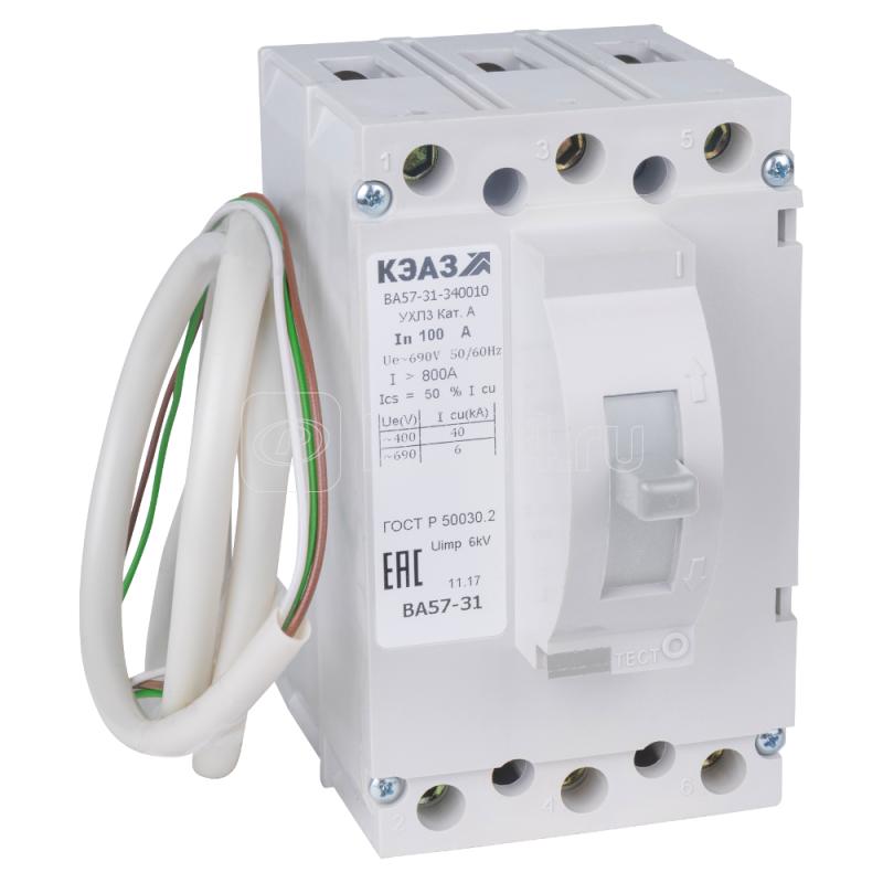 Выключатель автоматический 80А 500Im ВА57-31-841110 УХЛ3 220В DC КЭАЗ 108527 купить в интернет-магазине RS24
