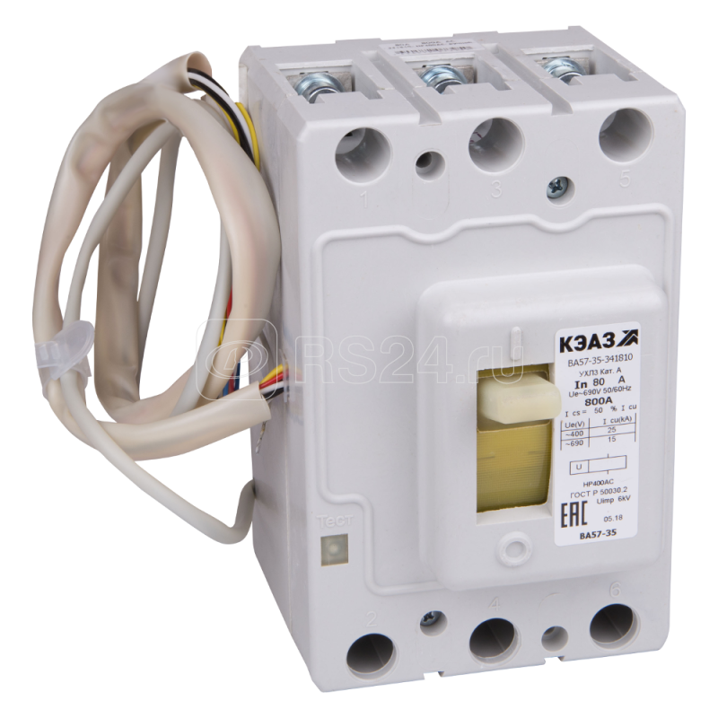 Выключатель автоматический 125А 800Im ВА57-35-344610 УХЛ3 690В AC КЭАЗ 109094 купить в интернет-магазине RS24