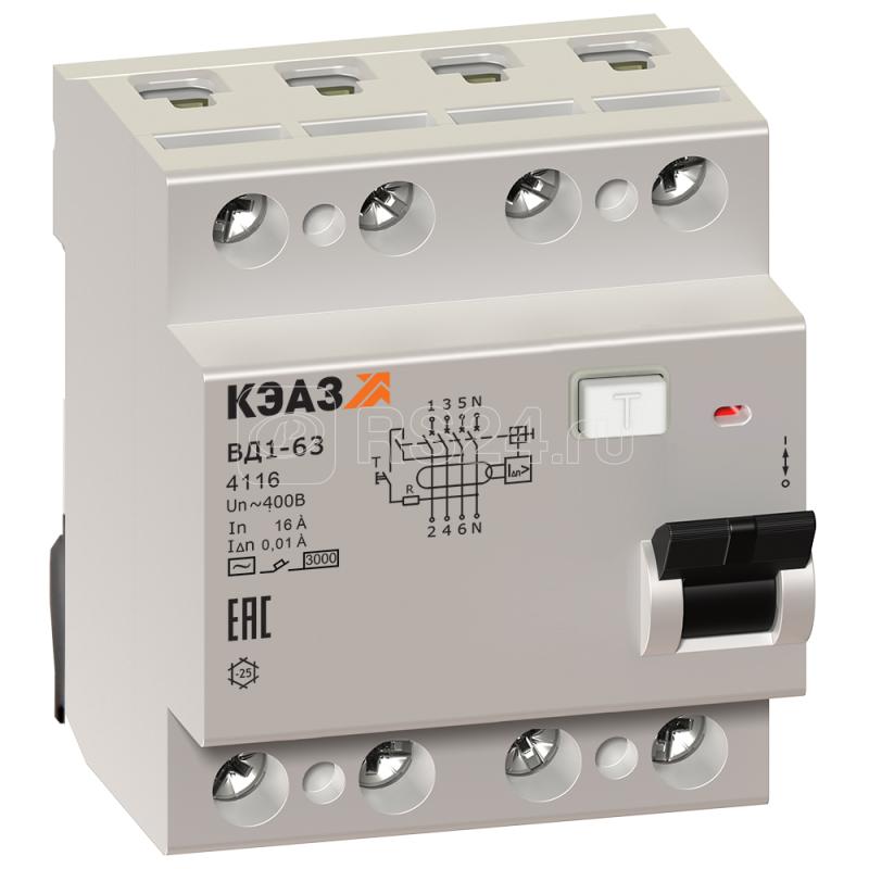 Выключатель дифференциального тока (УЗО) 4п 25А 10мА тип AC ВД1-63 4125 УХЛ4 КЭАЗ 221945 купить в интернет-магазине RS24