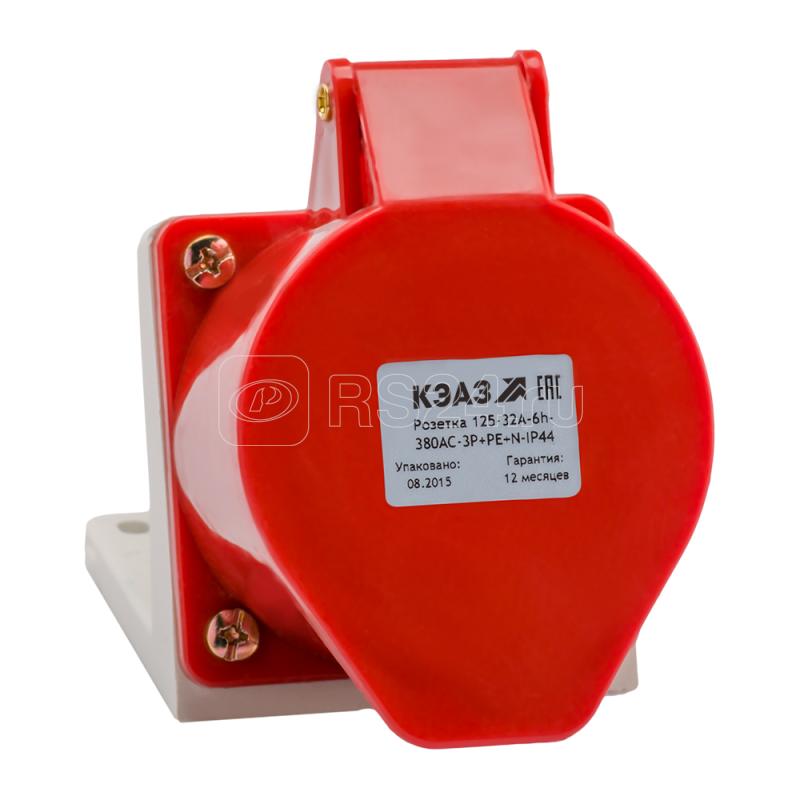 Розетка 115 16А 3P+PE+N 380В AC 6ч IP44 для монтажа на поверхность КЭАЗ 222755 купить в интернет-магазине RS24