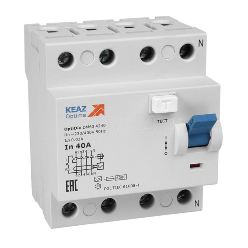 Выключатель дифференциального тока (УЗО) 4п 63А 100мА OptiDin DМ63-4363-A-УХЛ4 КЭАЗ 254322 купить в интернет-магазине RS24