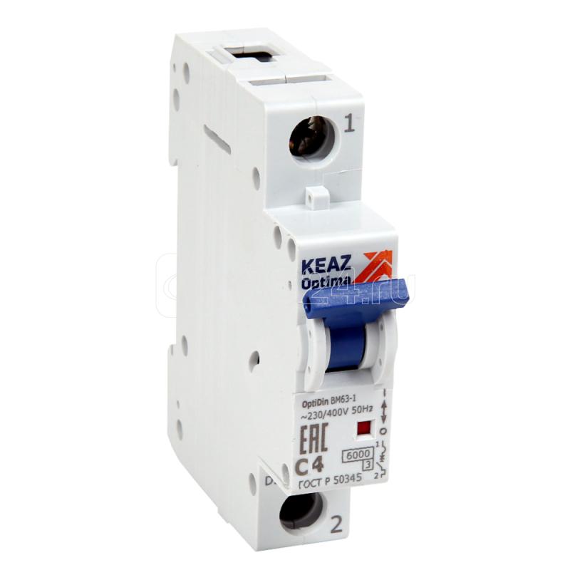 Выключатель автоматический модульный 1п C 10А 6кА OptiDin BM63-1C10-УХЛ3 КЭАЗ 260501 купить в интернет-магазине RS24