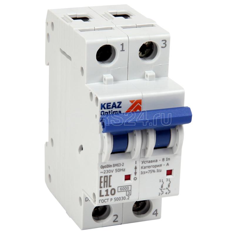Выключатель автоматический модульный 2п L 32А OptiDin BM63-2L32-УХЛ3 КЭАЗ 260652 купить в интернет-магазине RS24