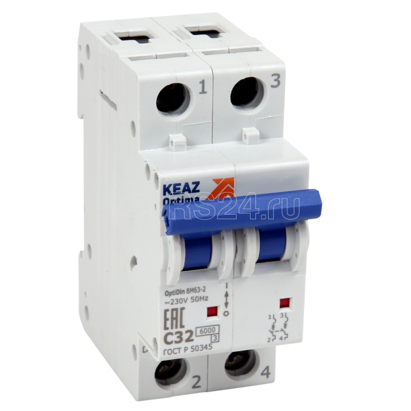 Выключатель автоматический модульный 2п B 63А OptiDin BM63-2NB63-УХЛ3 КЭАЗ 260674 купить в интернет-магазине RS24