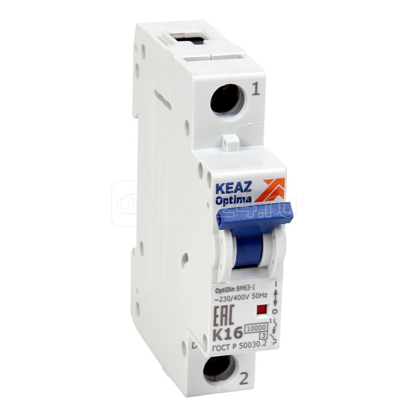 Выключатель автоматический модульный 1п K 6А 10кА OptiDin BM63-1K6-10-УХЛ3 КЭАЗ 262559 купить в интернет-магазине RS24