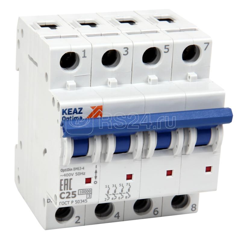 Выключатель автоматический модульный 4п B 13А 10кА OptiDin BM63-4NB13-10-УХЛ3 КЭАЗ 262930 купить в интернет-магазине RS24