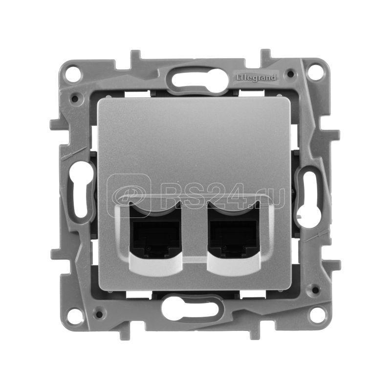 Механизм розетки комп. СП Etika RJ45 + RJ45 CAT.5E UTP алюм. Leg 672455 купить в интернет-магазине RS24