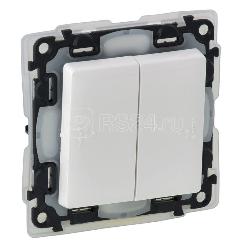Механизм выключателя 2-кл. СП Valena Life 10А IP44 250В с лиц. панелью безвинт. зажимы бел. Leg 752155 купить в интернет-магазине RS24