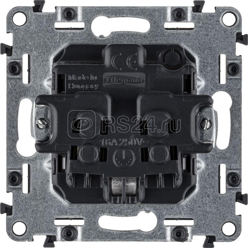 Механизм розетки 1-м СП Valena Allure 16А IP20 250В 2P+E винт. клеммы с лицев. панелью алюм. Leg 753924 купить в интернет-магазине RS24