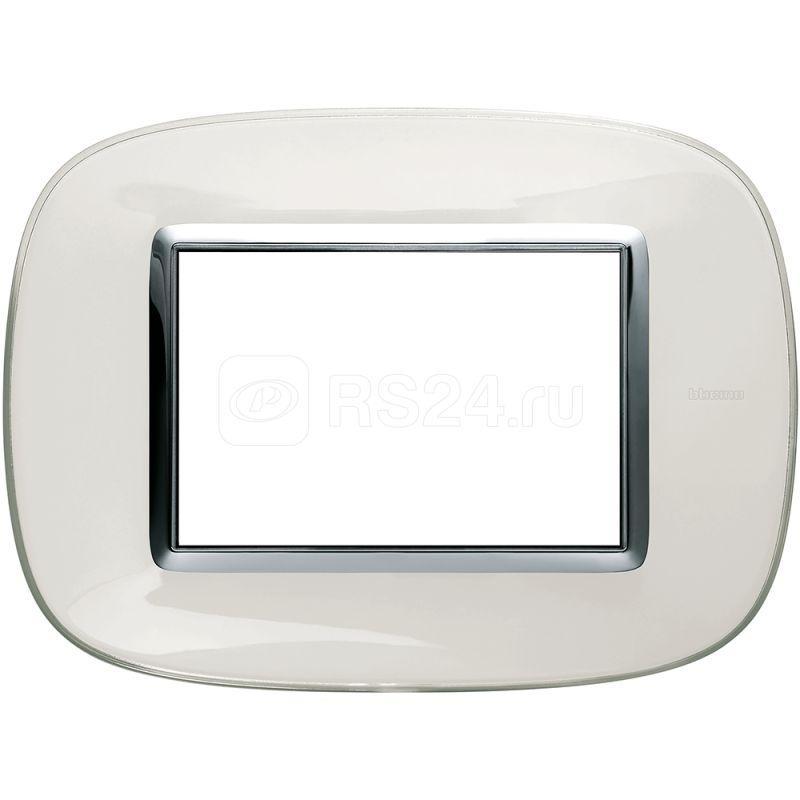 Рамка 3мод. Axolute овальная прозр. бел. карамель Leg BTC HB4803DB купить в интернет-магазине RS24
