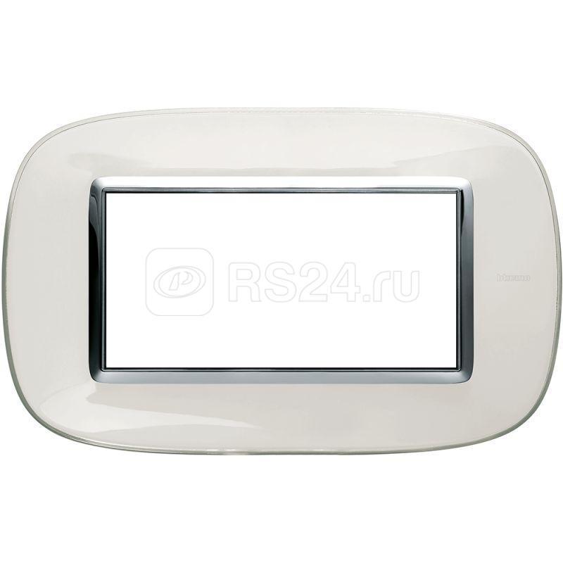 Рамка 4мод. Axolute овальная прозр. бел. карамель Leg BTC HB4804DB купить в интернет-магазине RS24