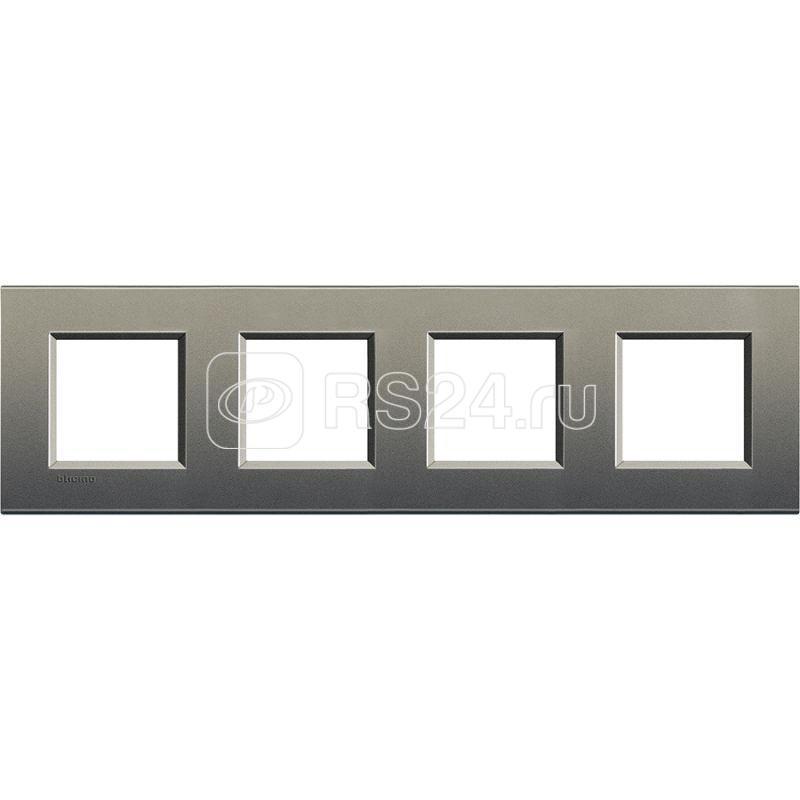 Рамка 4-м LivingLight прямоугол. сер. шелк Leg BTC LNA4802M4AE купить в интернет-магазине RS24