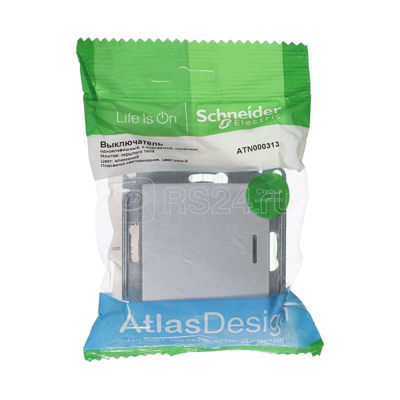 Механизм выключателя 1-кл. ATLAS DESIGN с подсветкой (сх.1а) 10АХ алюм. SchE ATN000313 купить в интернет-магазине RS24
