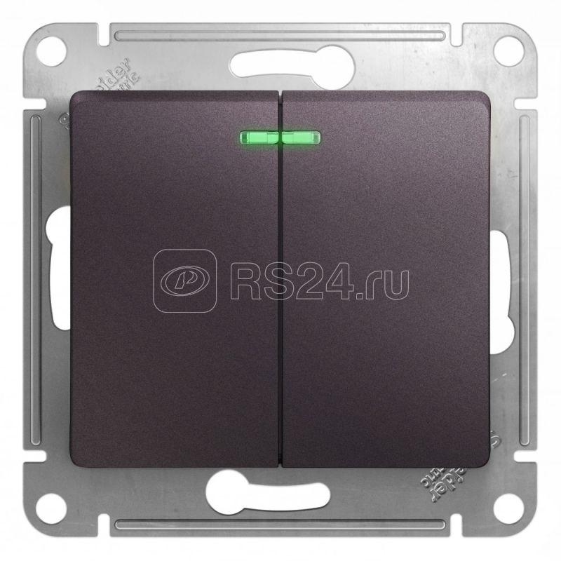Механизм выключателя 2-кл. СП Glossa 10А IP20 (сх. 5а) 10AX с подсветкой сиренев. туман SchE GSL001453 купить в интернет-магазине RS24