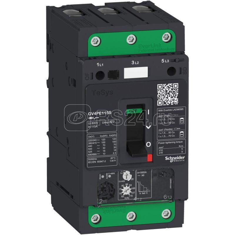 Выключатель автоматический GV4PE с комбинированным расцепителем 115А 100кА зажим EVERLINK SchE GV4PE115S купить в интернет-магазине RS24