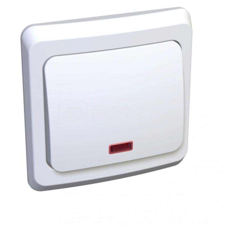 Выключатель кнопочный 1-кл. СП Этюд с инд. бел. SchE KC10-002B