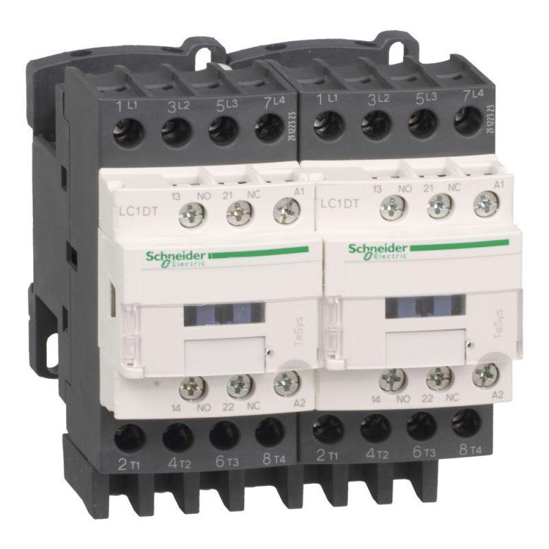 Контактор реверсивный 4п (4НО) АС1 40А НО+НЗ 110В 50/60Гц механич. блокировка SchE LC2DT40F7 купить в интернет-магазине RS24