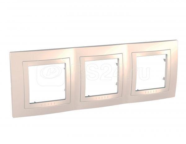 Рамка 3-м Unica с декор. накл. беж. SchE MGU2.006.25 купить в интернет-магазине RS24