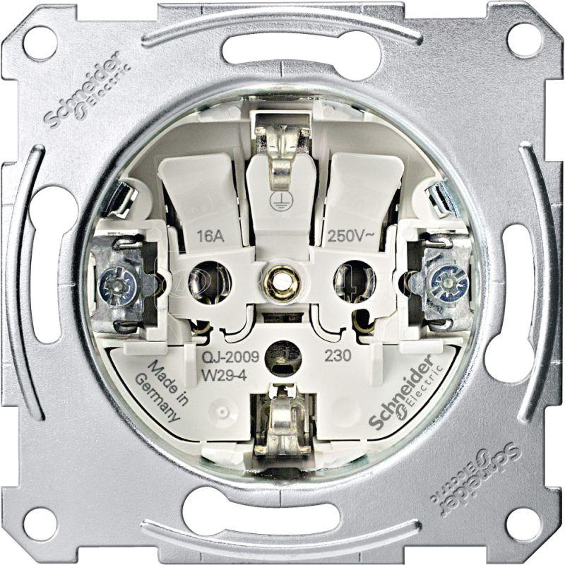 Механизм розетки 1-м СП Merten 16А IP20 с заземл. Schuko безвинт. клеммы съемный модуль QF SchE MTN2300-0000 купить в интернет-магазине RS24