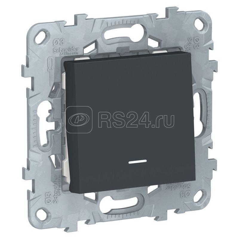 Механизм выключателя 1-кл. 2мод. СП Unica New IP21 (сх. 1а) с подсветкой антрацит SchE NU520154N купить в интернет-магазине RS24