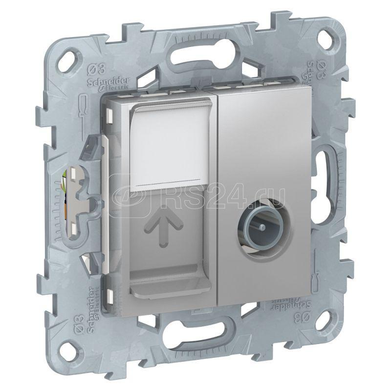 Механизм розетки TV UNICA NEW одиночная + комп. RJ45 кат.6 UTP алюм. SchE NU547030 купить в интернет-магазине RS24
