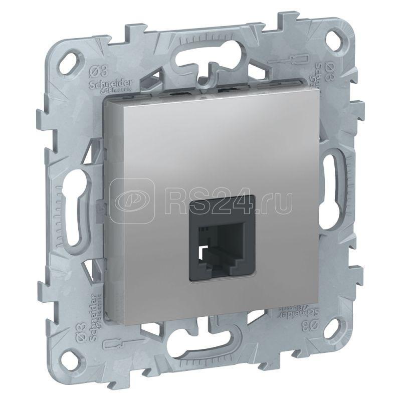 Механизм розетки телефонная UNICA NEW RJ11 одиноч. 4 контакта алюм. SchE NU549230 купить в интернет-магазине RS24