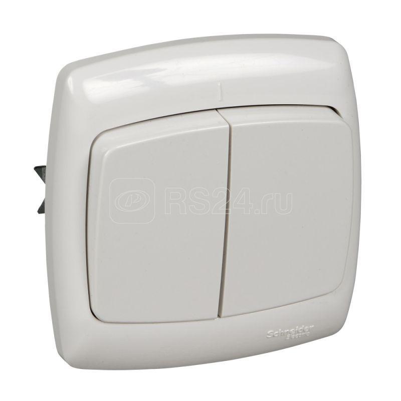 Выключатель 2-кл. СП Рондо 6А IP20 бел. SchE С56-052 S56-052-BI (С56-052-би)
