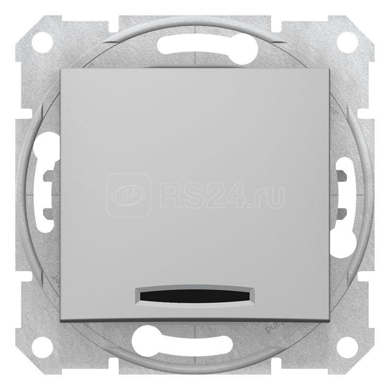 Механизм переключателя проходного 1-кл. СП Sedna 10А IP20 (сх. 6а) 250В с син. подсветкой алюм. SchE SDN1500160 купить в интернет-магазине RS24