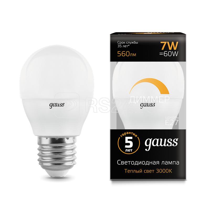 Лампа светодиодная Black Globe-dim E27 7Вт 3000К диммир. Gauss 105102107-D купить в интернет-магазине RS24