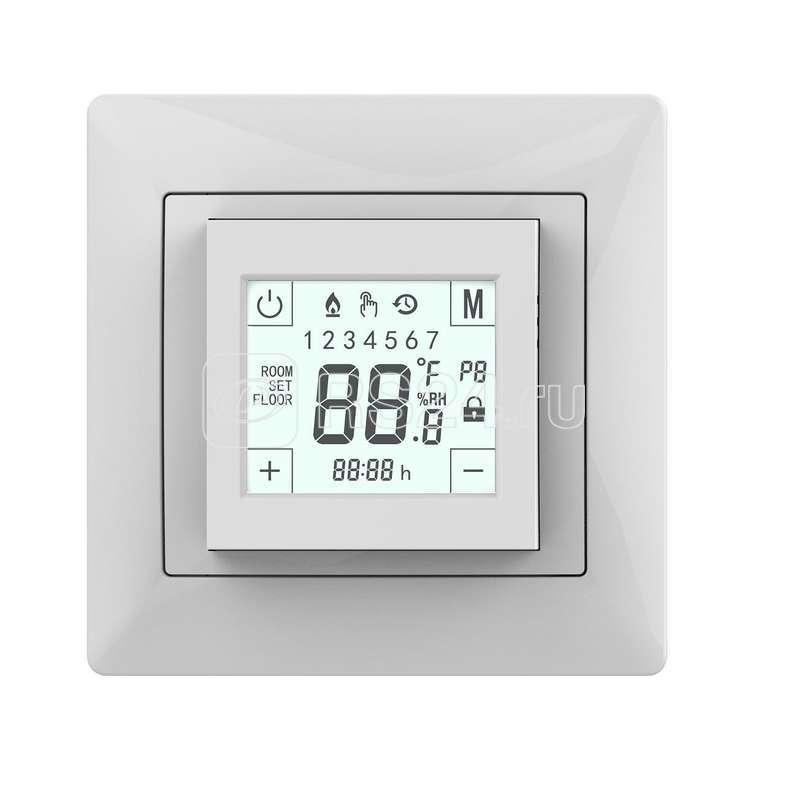 Термостат прогр. W225 сенс. дисплей датчик пола 3.6кВт 16А бел. (в компл. переходник для рамок Unica/Glossa/Etika) Grand Meyer W225