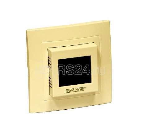 Термостат прогр. W225 сенс. дисплей датчик пола 3.6кВт 16А беж. (в компл. переходник для рамок Unica/Glossa/Etika) Grand Meyer W225i