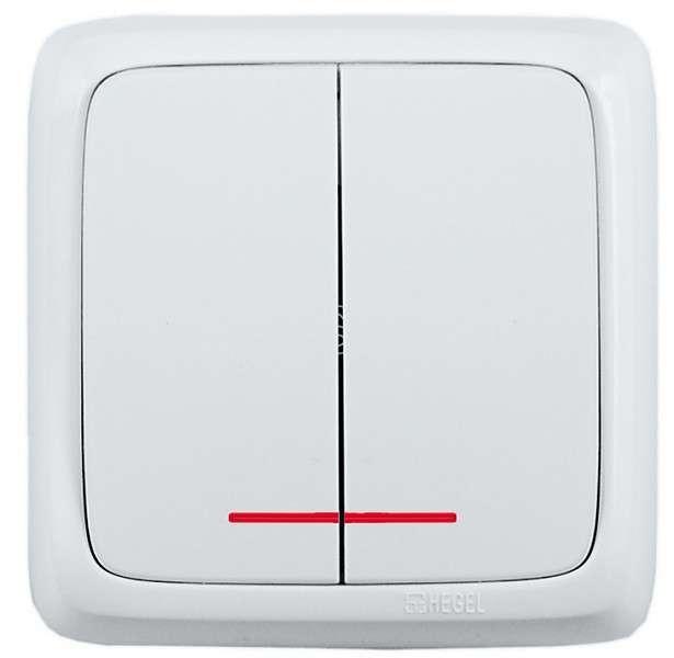Выключатель 2-кл. ОП Альфа 10А IP20 250В с индикацией с монтаж. пластиной бел. HEGEL ВА10-156 купить в интернет-магазине RS24
