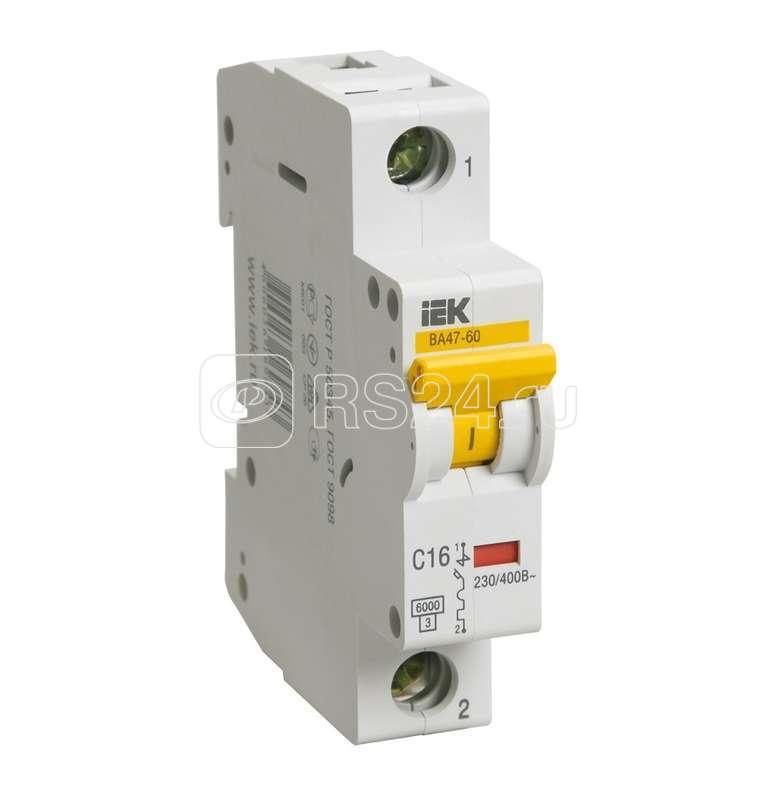 Выключатель автоматический модульный 1п D 16А 6кА ВА 47-60 ИЭК MVA41-1-016-D купить в интернет-магазине RS24