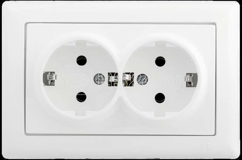 Механизм розетки 2-м СП BOLERO РС21-1-0-ББ 16А с заземл. бел. ИЭК ERB29-K01-16 купить в интернет-магазине RS24