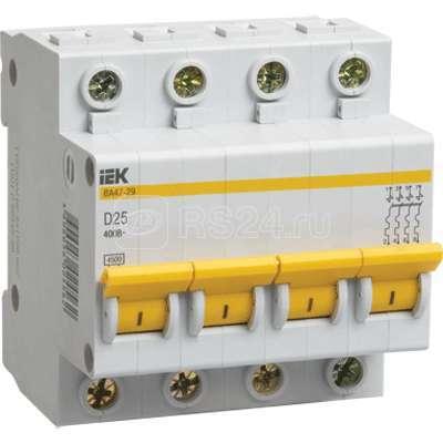 Выключатель автоматический модульный 4п D 32А 4.5кА ВА47-29 ИЭК MVA20-4-032-D купить в интернет-магазине RS24