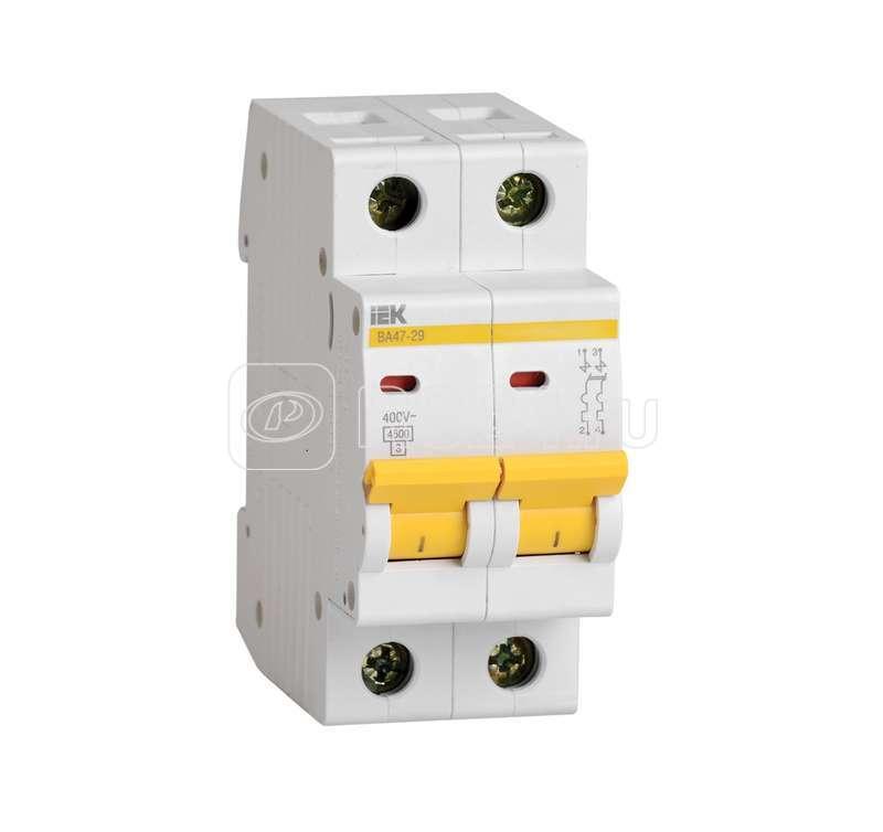 Выключатель автоматический модульный 2п D 16А 4.5кА ВА47-29 ИЭК MVA20-2-016-D купить в интернет-магазине RS24