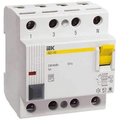 Выключатель дифференциального тока (УЗО) 4п 63А 30мА тип AC ВД1-63 ИЭК MDV10-4-063-030 купить в интернет-магазине RS24