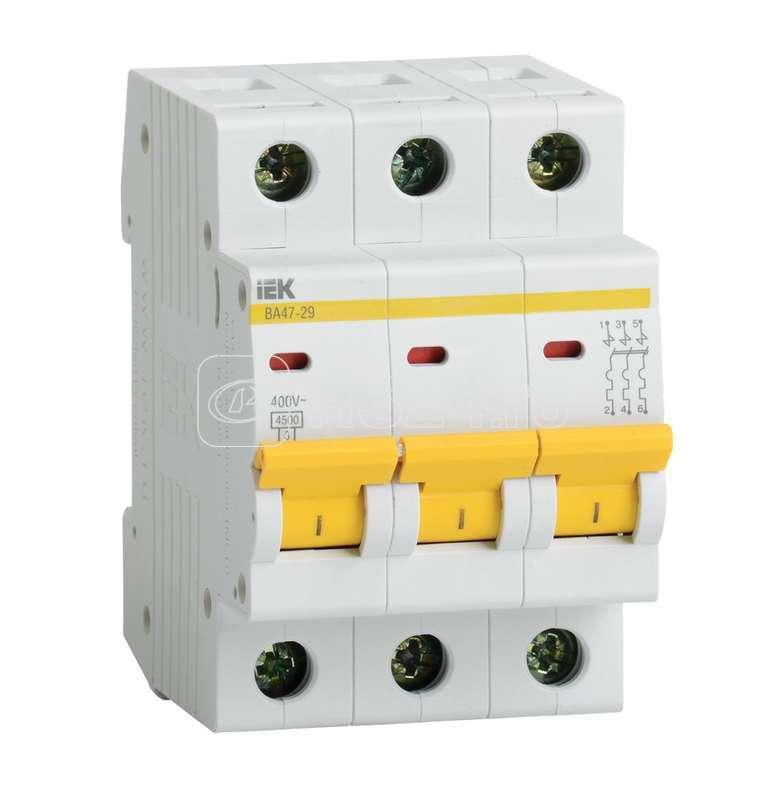 Выключатель автоматический модульный 3п D 16А 4.5кА ВА47-29 ИЭК MVA20-3-016-D