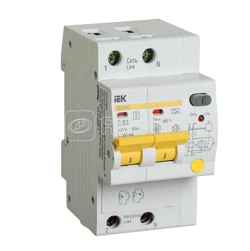 Выключатель автоматический дифференциального тока селективный 2п 63А 300мА тип A АД12MS ИЭК MAD123-2-063-C-300 купить в интернет-магазине RS24