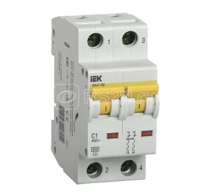 Выключатель автоматический модульный 2п C 2А 6кА ВА 47-60 ИЭК MVA41-2-002-C