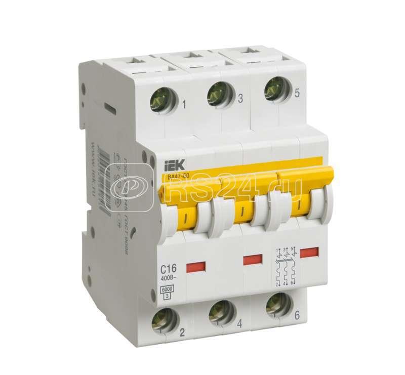 Выключатель автоматический модульный 3п B 50А 6кА ВА 47-60 ИЭК MVA41-3-050-B купить в интернет-магазине RS24